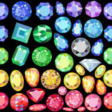 Seamless scattered borders of gems, rhinestones Stock Photography
