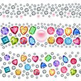 Seamless scattered gems, rhinestones isolated on white backgroun Stock Images