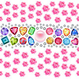 Seamless scattered gems, rhinestones, pearls & roses  on Stock Images