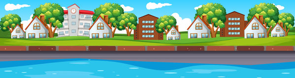 Seamless scene with houses along river. Illustration Stock Image