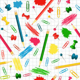 Seamless school background. With pencils, pins stock illustration