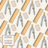 Seamless School or Office Supplies Pattern. Thin line icon. Vect Royalty Free Stock Photo