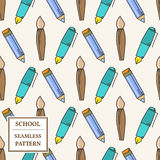 Seamless School or Office Supplies Pattern. Thin line icon. Vect Royalty Free Stock Photography