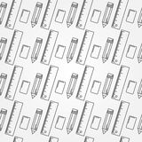 Seamless School Office Supplies Pattern. Stock Images