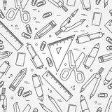 Seamless School Office Supplies Pattern. Stock Photos
