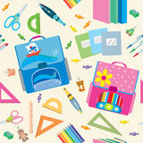 Seamless school pattern. Back to School icons education seamless pattern Stock Images