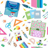 Seamless school pattern. Back to School icons education seamless pattern Royalty Free Stock Image