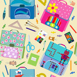 Seamless school pattern. Back to School icons education seamless pattern Royalty Free Stock Images