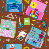 Seamless school pattern. Back to School icons education seamless pattern Royalty Free Stock Photos