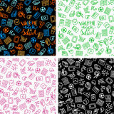 Seamless school pattern. Brightset of seamless patterns with school icons, vector illustration Stock Photo
