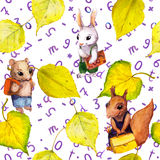 Seamless school pattern - childish animals, autumn leaves, letters. Watercolor Royalty Free Stock Photo