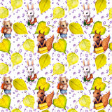Seamless school pattern - childish animals, autumn leaves, letters. Watercolor Royalty Free Stock Photography