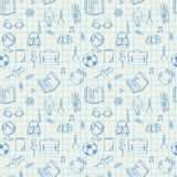 Seamless school pattern doodles on math paper Stock Photo