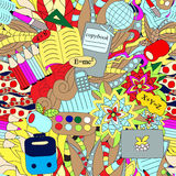 Seamless school pattern. education background. cartoon design. Illustration Royalty Free Stock Images