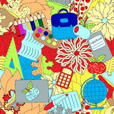 Seamless school pattern. education background. cartoon design Stock Images