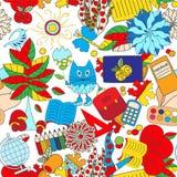 Seamless school pattern. education background. cartoon design. Illustration Royalty Free Stock Photo