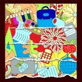 Seamless school pattern. education background. cartoon design. t. Orn paper illustration Stock Photo