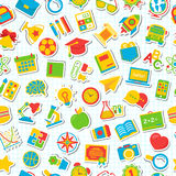 Seamless school pattern with flat color icons school supplies on. Checkered background. Education pattern. Vector Illustration Stock Photos