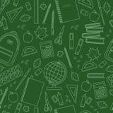 Seamless school pattern. On green chalkboard. Vector stock illustration Stock Image