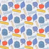 Seamless school pattern. School pattern on the notebook sheet in line Stock Image