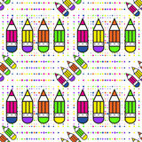 Seamless school pattern with pencils. Illustration for print, package design, wrapping, textile Stock Images