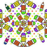 Seamless school pattern with pencils. Illustration for print, package design, wrapping, textile Stock Image