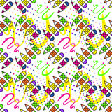 Seamless school pattern with pencils. Illustration for print, package design, wrapping, textile Royalty Free Stock Photography