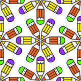 Seamless school pattern with pencils. Illustration for print, package design, wrapping, textile Royalty Free Stock Photos