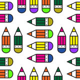 Seamless school pattern with pencils. Illustration for print, package design, wrapping, textile Royalty Free Stock Photo