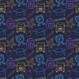 Seamless school pattern,with thematic elements. Seamless school pattern,with  hat graduate, pencil, backpack,alarm clock, leaf, autumn Stock Photography