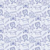 Seamless school pattern with varios elements on. The notebook sheet Stock Photography