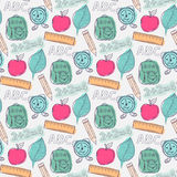 Seamless school pattern. Seamless vector watercolor  school pattern on a notebook sheet Royalty Free Stock Images