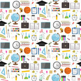 Seamless school pattern on a white background. Vector stock. Illustration Stock Image
