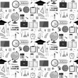 Seamless school pattern on a white background. Vector stock illustration. School seamless pattern on a white background. Grey items. Vector illustration Stock Photos