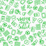 Seamless school pattern. Seamless pattern on white checkered background with set of school icons. Vector illustration Royalty Free Stock Image