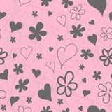 Seamless scratched black and pink pattern of hand-drawn contours and silhouettes of flowers and hearts. Seamless scratched grey and pink pattern of hand-drawn Stock Photos