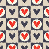 Seamless scribble geometric heart pattern Stock Images
