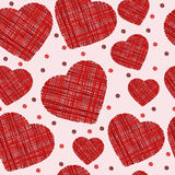 Seamless scribbled red hearts pattern. Vector illustration Stock Images