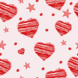 Seamless scribbled red hearts and stars pattern. Vector illustra Stock Image