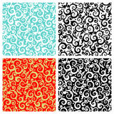 Seamless scrolls patterns. Four easy to repeat tiles (prints, swatches, seamless backgrounds, wallpapers, or repeat patterns) with decorative floral scrolls Royalty Free Stock Photo