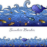 Seamless sea border Stock Photos