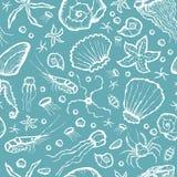 Seamless sea creatures pattern Stock Photos
