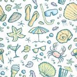 Seamless sea creatures pattern Stock Photo