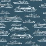 Seamless sea hand drawn pattern with ships Stock Photography