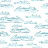 Seamless sea hand drawn pattern with ships Royalty Free Stock Photography