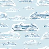 Seamless sea hand drawn pattern with ships Royalty Free Stock Photos