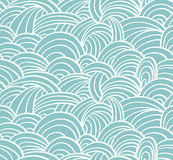 Seamless sea hand-drawn pattern, waves background. Abstract template vector illustration