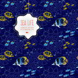 Seamless sea life background with fishes. Royalty Free Stock Images