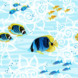 Seamless sea life background with fishes. Royalty Free Stock Photos