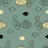 Seamless sea life pattern Royalty Free Stock Images